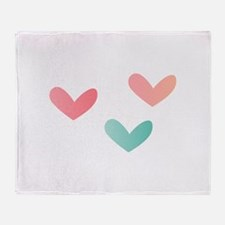 Multicolored Hearts Throw Blanket