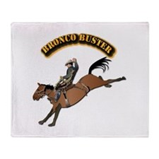 Bronco Buster with Text Throw Blanket