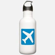Blue airplane icon Water Bottle