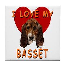 I Love My Basset Tile Coaster
