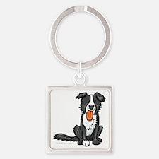 Cute Border collie cartoon Square Keychain