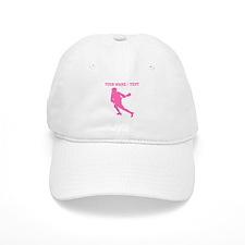 Pink Lacrosse Player (Custom) Baseball Baseball Baseball Cap