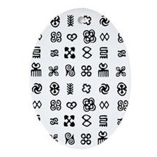 West Africa Adinkra Symbols Oval Ornament