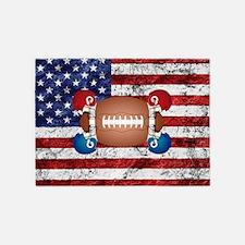 American football ball and helmets 5'x7'Area Rug