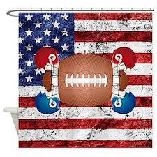American football ball and helmets Shower Curtain