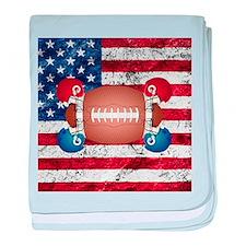 American football ball and helmets baby blanket