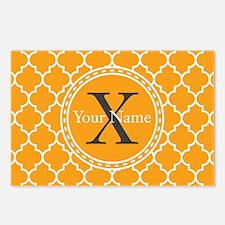 Custom Name And Initial Orange Quatrefoil Postcard