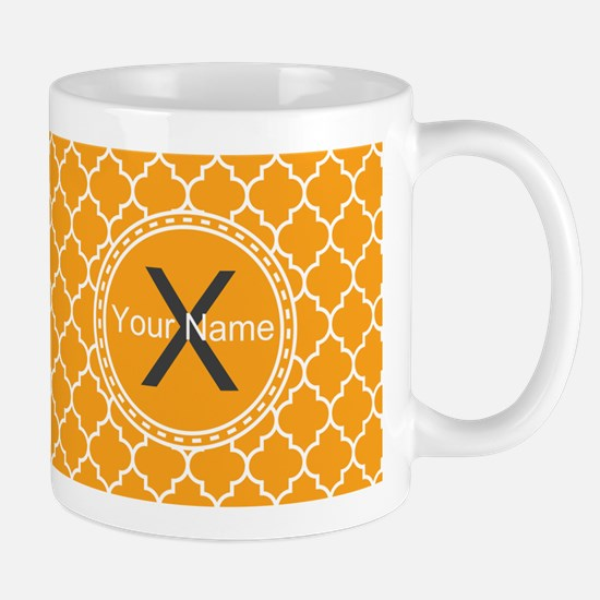 Custom Name And Initial Orange Quatrefoil Mugs