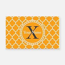 Custom Name And Initial Orange Quatrefoil Rectangl