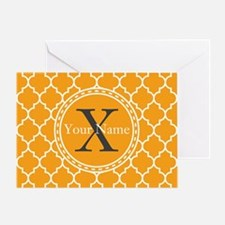 Custom Name And Initial Orange Quatrefoil Greeting