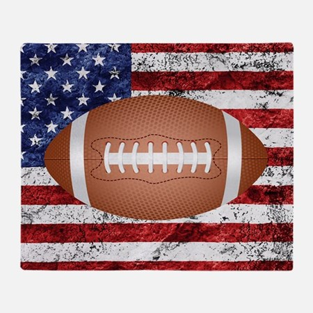 American football ball on flag Throw Blanket