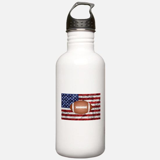 American football ball on flag Water Bottle