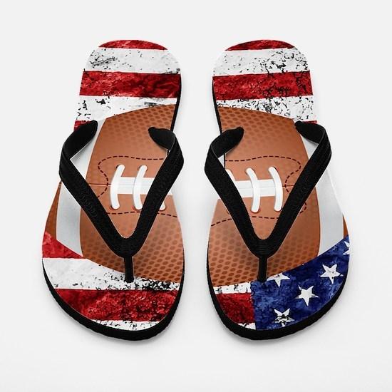 American football ball on flag Flip Flops