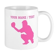 Pink Baseball Catcher (Custom) Mugs