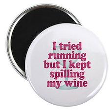 Wine vs Running Laziness Humor Magnet