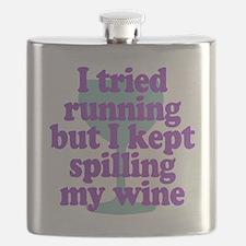 Wine vs Running Laziness Humor Flask