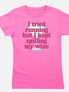 Wine vs Running Laziness Humor Girl's Tee