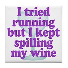 Wine vs Running Laziness Humor Tile Coaster