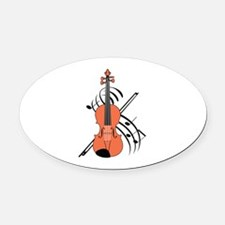 VIOLIN AND MUSIC Oval Car Magnet
