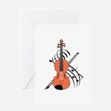 VIOLIN AND MUSIC Greeting Cards