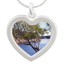 Funny Florida Silver Heart Necklace