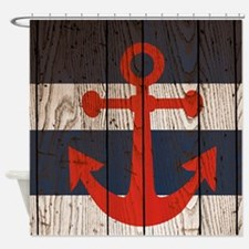 Nautical Wooden Boards red Anchor Shower Curtain