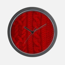 Wool red cable stitches Wall Clock
