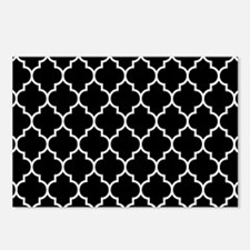 BLACK AND WHITE Moroccan Quatrefoil Postcards (Pac