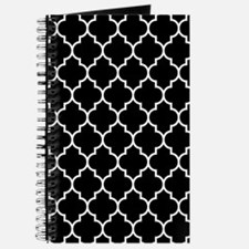 BLACK AND WHITE Moroccan Quatrefoil Journal
