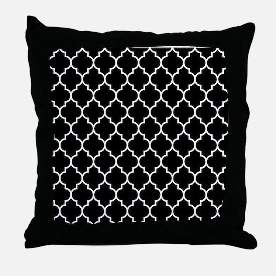 BLACK AND WHITE Moroccan Quatrefoil Throw Pillow