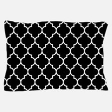 BLACK AND WHITE Moroccan Quatrefoil Pillow Case