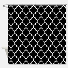 BLACK AND WHITE Moroccan Quatrefoil Shower Curtain