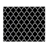 Black and white quatrefoil Fleece Blankets
