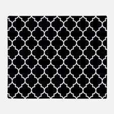 BLACK AND WHITE Moroccan Quatrefoil Throw Blanket