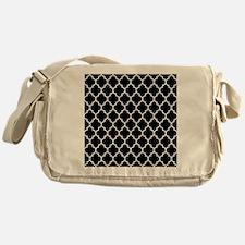 BLACK AND WHITE Moroccan Quatrefoil Messenger Bag