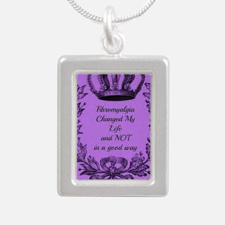 fibromyalgia awareness Silver Portrait Necklace