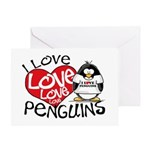 I Love Love Love Penguins Greeting Card