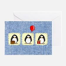 3 Penguins Birthday Card