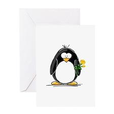 Yellow Rose Penguin Greeting Card