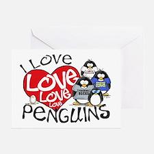I Love Love More Penguins Greeting Card