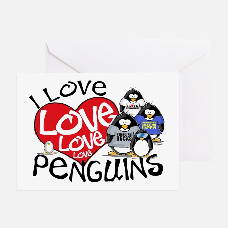 I Love Love More Penguins Greeting Card