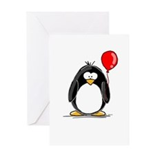 Red Balloon Penguin Greeting Card