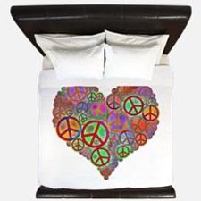Peace Sign Heart King Duvet
