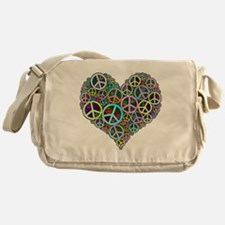 Peace Sign Heart Messenger Bag