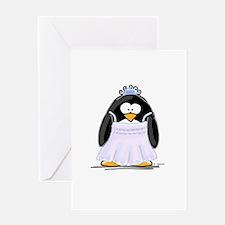 Debutant penguin Greeting Card