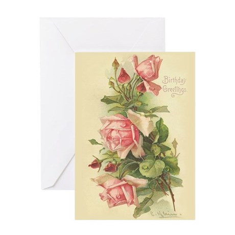 Victorian Rose Birthday Greeting Card