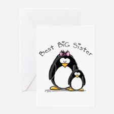 Best Big Sister penguins Greeting Card