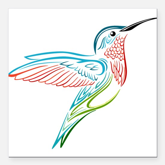 "Hummingbird Square Car Magnet 3"" x 3"""