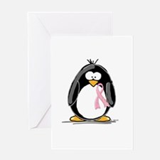 Breast Cancer penguin Greeting Card