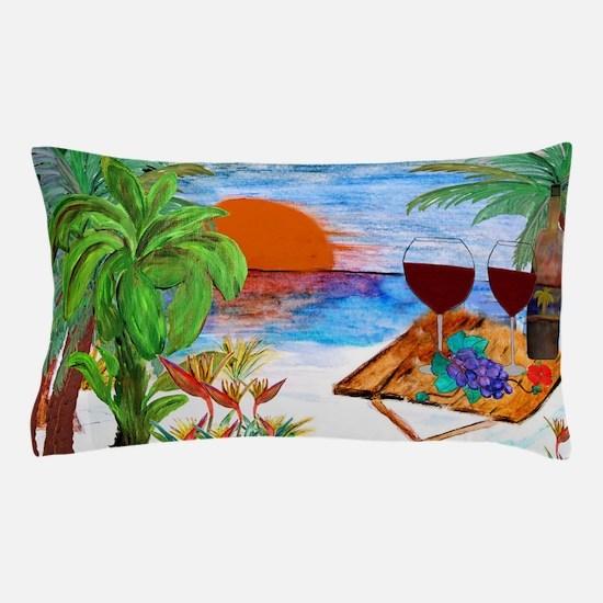 Beach Sunset Wine Art Pillow Case